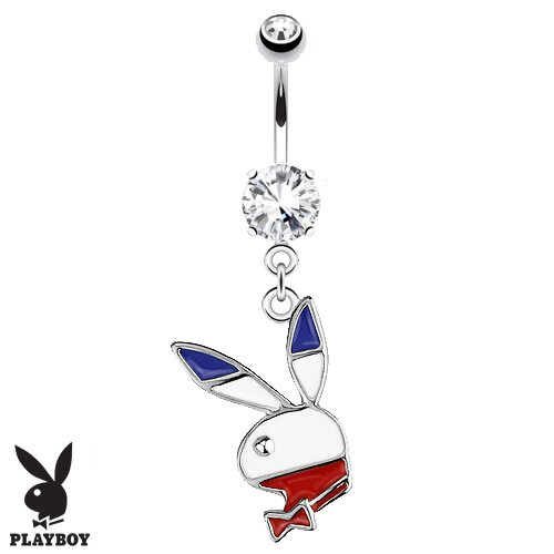 "Bauchnabelpiercing Mit Anhänger ""Playboy Hase Flagge Rot"