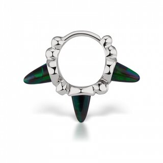 Maria Tash 6,5mm Triple Short Black Opal Spike Granulated Clicker